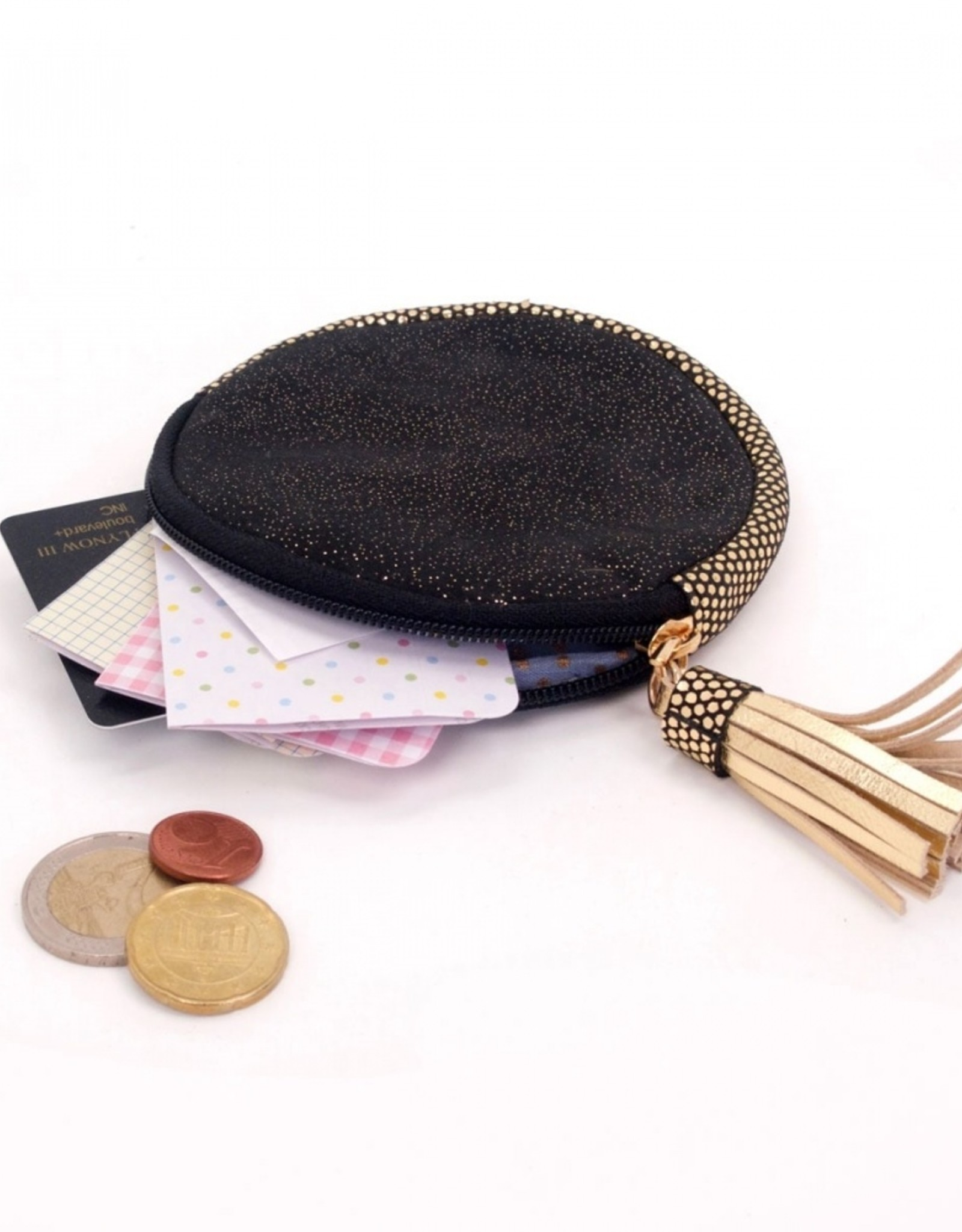 Noi Black round leather gold dust pouch