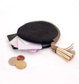 Black round leather gold dust pouch