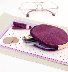 Plum round leather gold dust pouch