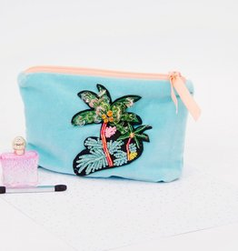 Sequined palm tree velvet pouch