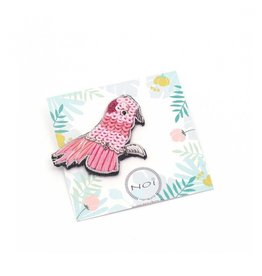 Pink parrot brooch