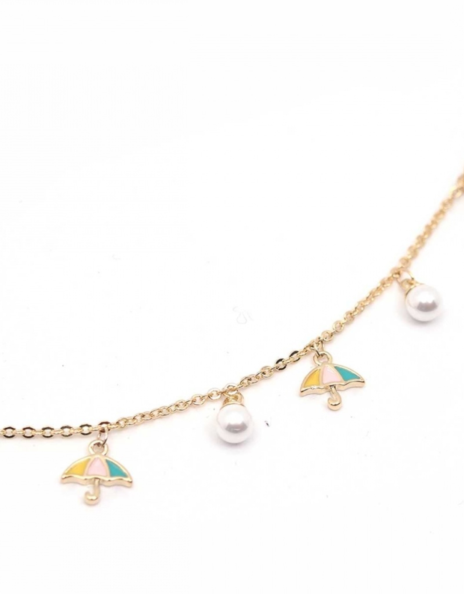Umbrella and pearl charm bracelet in gift packaging