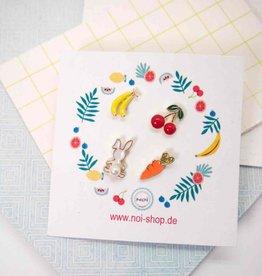 Noi Mini carrot banana rabbit cherry earring set