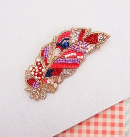 Noi Beaded feather brooch
