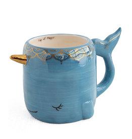 Petrol blue narwhal mug