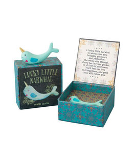 Noi Narwhal lucky charm in a gift box