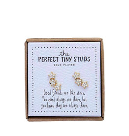 Three tiny stars studs earrings - gold plated