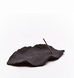 Handmade black leaf ceramic incense holder