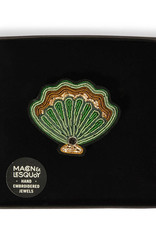 Macon & Lesquoy Scallop shell hand embroidered brooch
