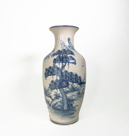 Vintage blue and white hand-painted vase