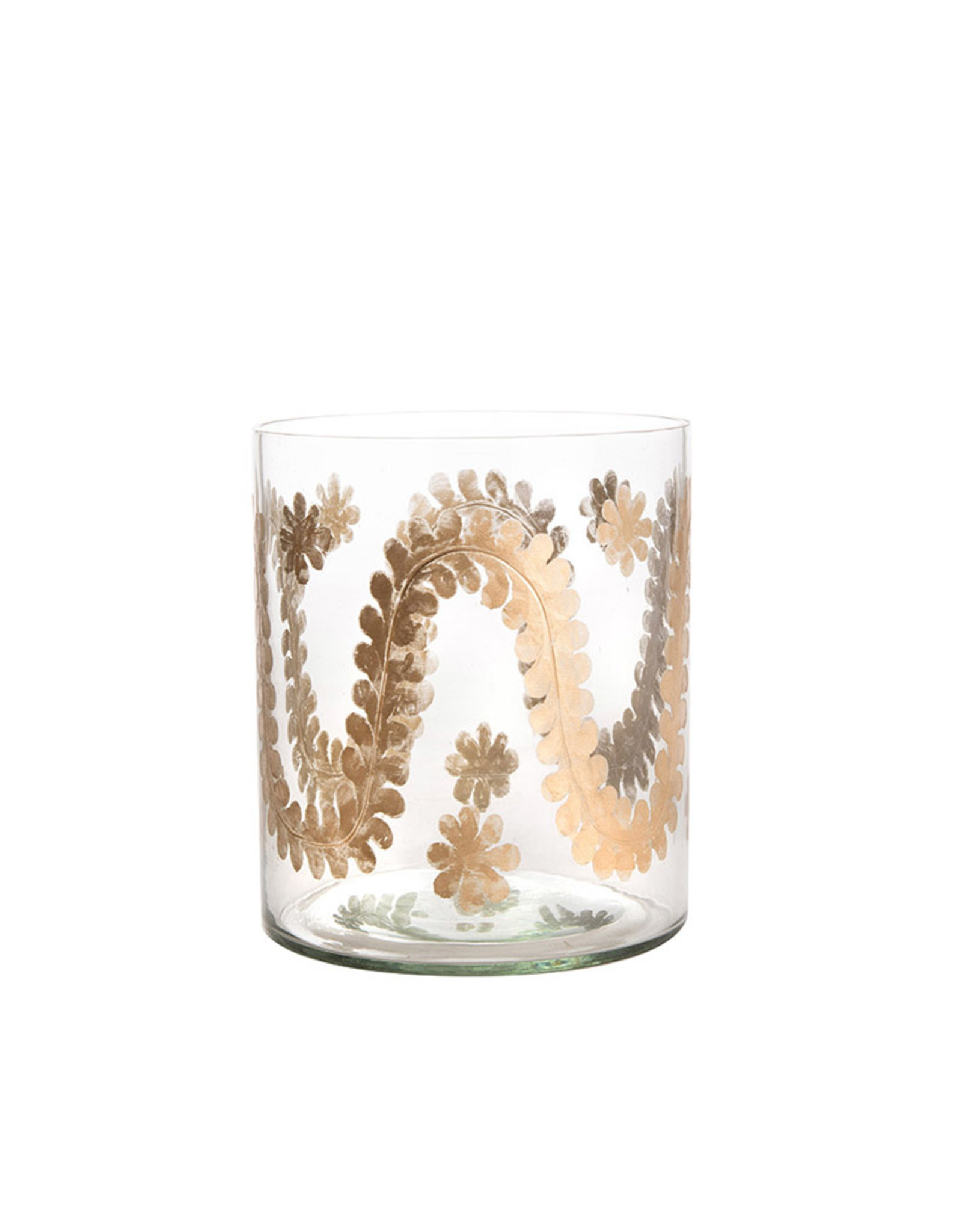 Large candle holder clear glass decorated with gold swirls