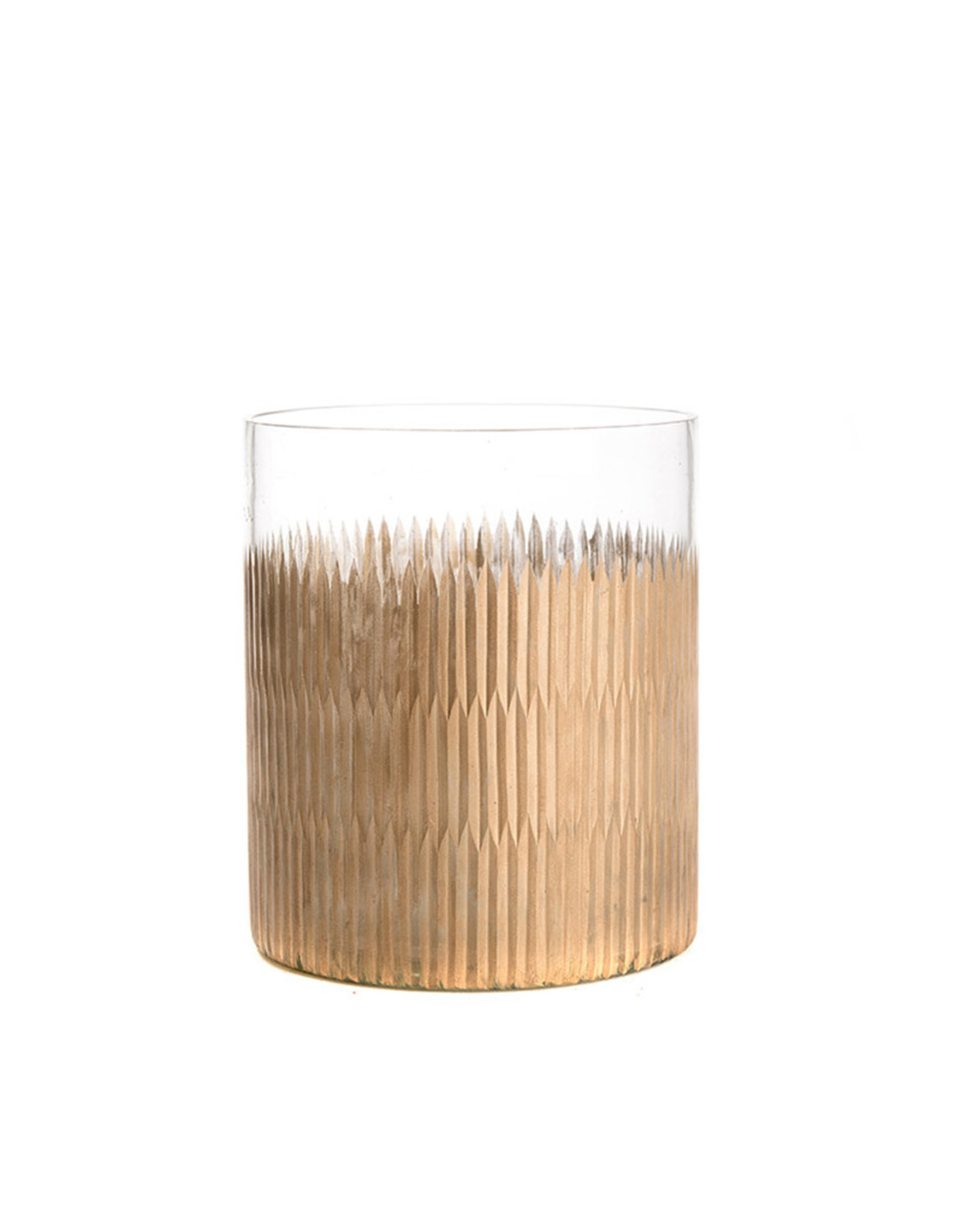 Large glass candle holder clear with strokes of gold