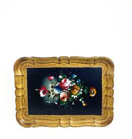 Vintage tray with flower decoration
