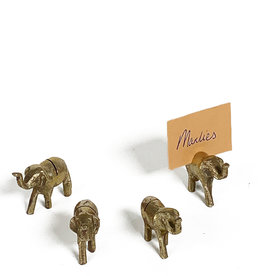 Vintage mini brass name card holder - animals