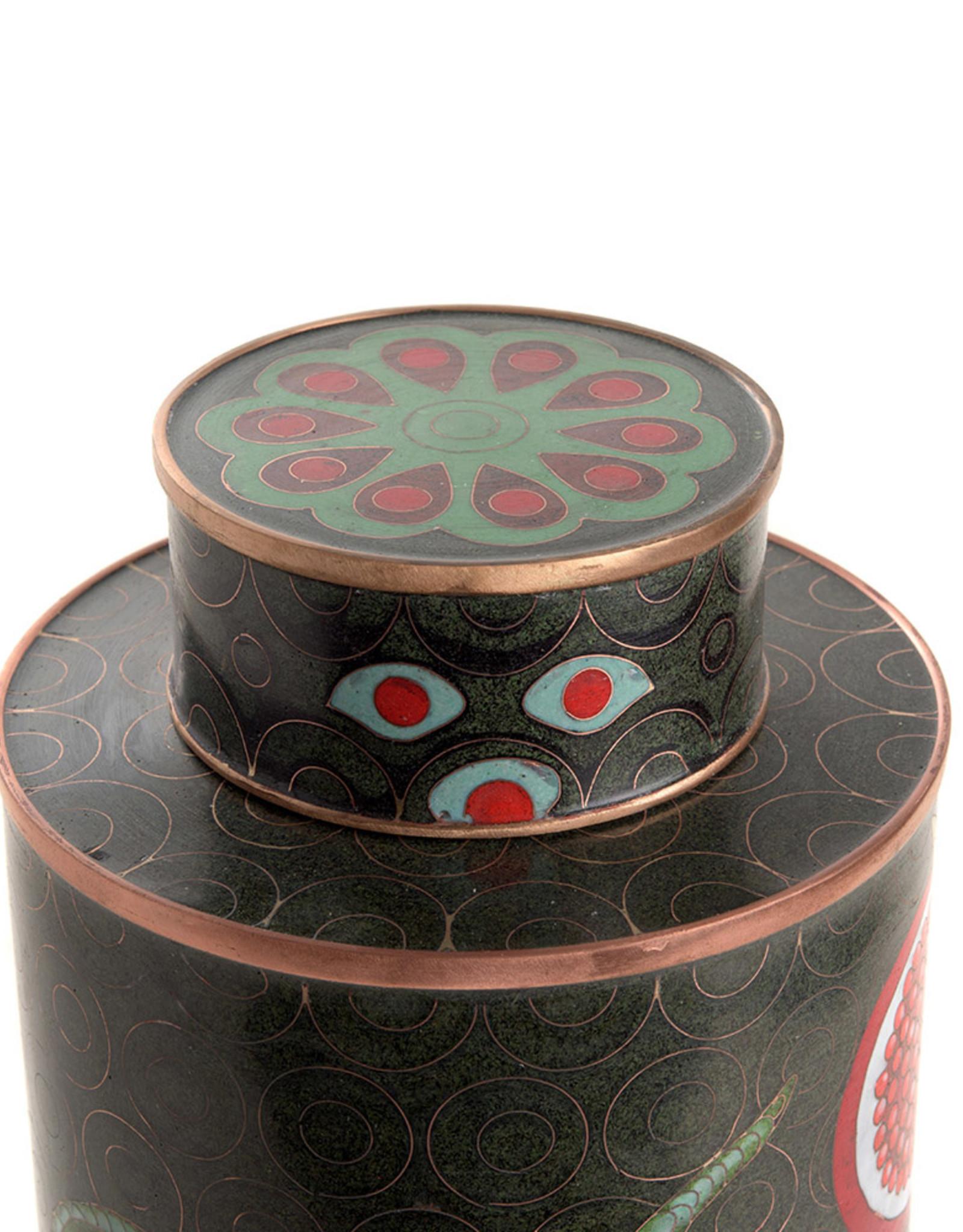 Fabienne Jouvin Cloisonné enameled tea box, snakes pommegranate, tall