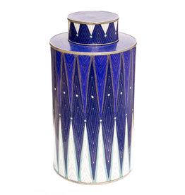 Fabienne Jouvin Cloisonné enameled tea box, blue diamond, extra tall