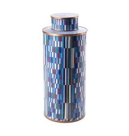 Fabienne Jouvin Cloisonné enameled tea box, rectangular blue, tall