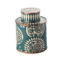 Fabienne Jouvin Cloisonné enameled tea box, graphic, turqoise