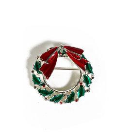Vintage Christmas brooch wreath