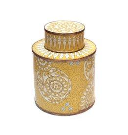 Fabienne Jouvin Cloisonné enameled tea box, graphic, yellow