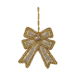 Gold bow beaded ornament