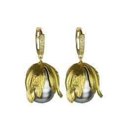 Katerina Psoma Grey pearls hoop earrings