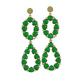 Katerina Psoma Green stone dangle earrings