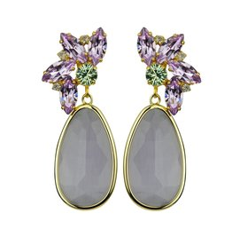 Katerina Psoma Crystal dangle earrings with violet drops
