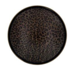 Round fauna tray leopard