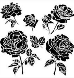 Stencil Cabbage Roses
