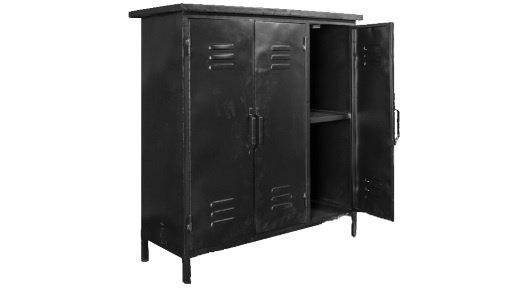 Stoere metalen lockers, multifunctionele bijzettafels