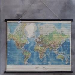 Wereldkaart op linnen in kleur