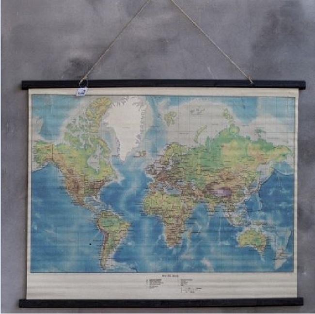 Verrassend Wereldkaart op linnen in kleur | Rimisa sfeer en decoratie PQ-71
