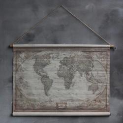 Wereldkaart op linnen | canvas