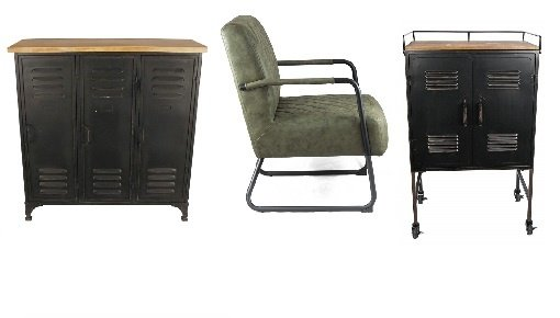 Salon- en bijzettafels, lockerkasten, fauteuils