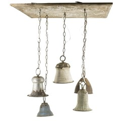 Vintage plafonniere met 5 gekleurde hanglampjes
