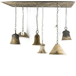 Vintage plafonniere met 6 gekleurde hanglampjes