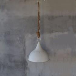 Landelijke hanglamp wit met touw