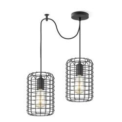 Zwarte hanglamp draadlamp, model Netting 2 lichts