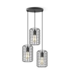 Zwarte hanglamp draadlamp, model Netting  3 lichts