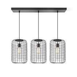 Zwarte hanglamp draadlamp, model Netting  3 lichts  recht