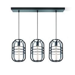 Draadlamp | kooilamp serie Nero 3 lichts hanglamp