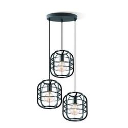 Draadlamp | kooilamp serie Nero 3 lichts hanglamp  rond