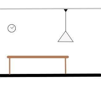 Een hanglamp in het midden van de tafel plaatsen