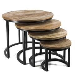 Set van 4 mango houten tafeltjes rond