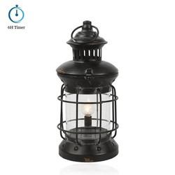 Lamp lantaarn met timer zwart 28,5cm