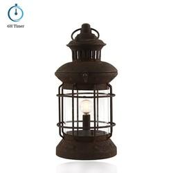 Lamp lantaarn met timer roestkleur 28,5cm