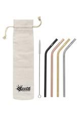 Cheeki Bent Straw 4 Pack With Cleaning Brush + Bag