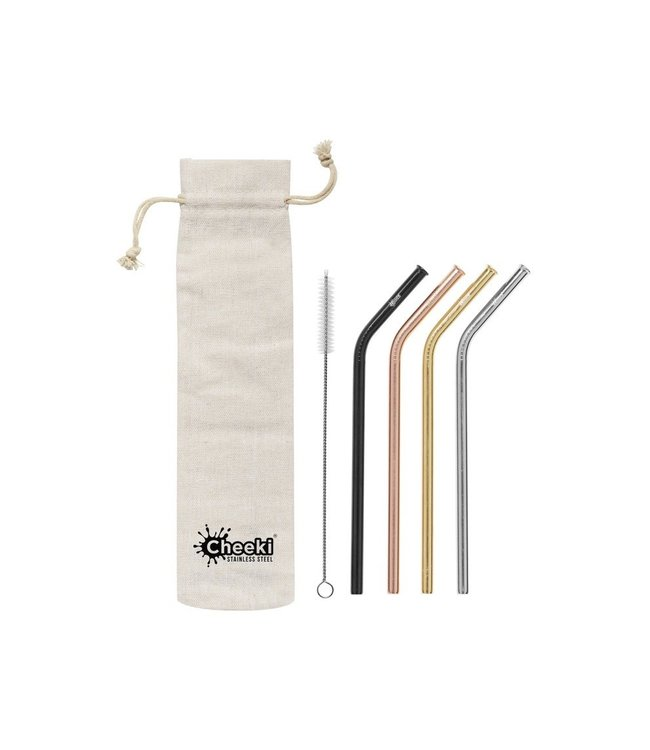Cheeki Cheeki Bent Straw 4 Pack With Cleaning Brush + Bag