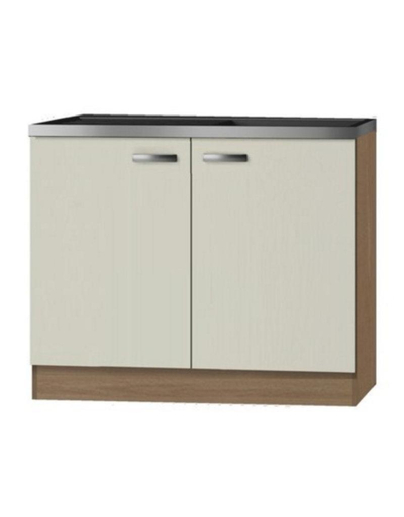 Keukenblok Cream met RVS aanrecht 100 x 60cm KIT-82